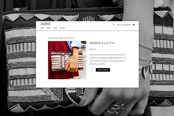 eCommerce website product page selling a clutch purse with beading and embroidery.